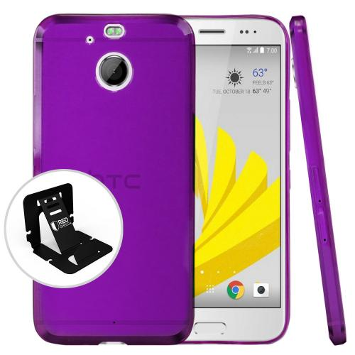 [HTC Bolt] Case, [Purple] Slim & Flexible Anti-shock Crystal Silicone Protective TPU Case