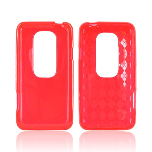 HTC EVO 3D Crystal Silicone Case - Argyle Red