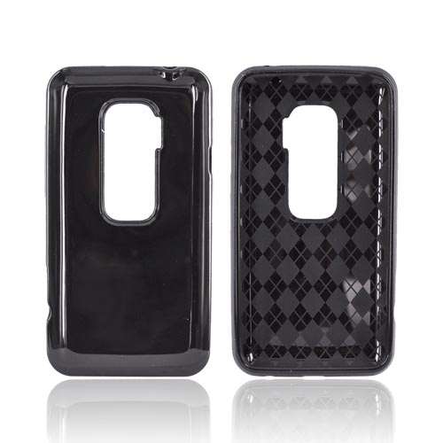 HTC EVO 3D Crystal Silicone Case - Black w/ Argyle Interior