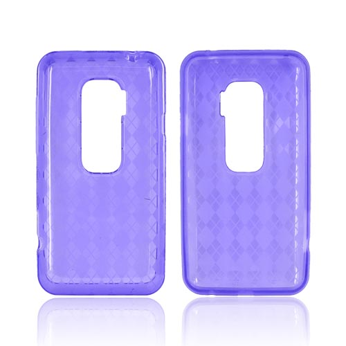 HTC EVO 3D Crystal Silicone Case - Transparent Purple Argyle