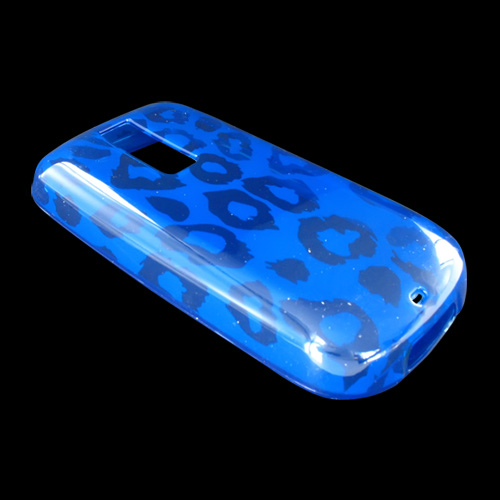 T-Mobile MyTouch 3G Crystal Silicone Case, Rubber Skin - Leopard Print on Transparent Blue