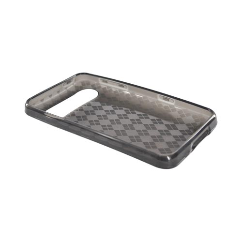 HTC HD7 / HTC HD7s Crystal Silicone Case - Transparent Argyle Smoke