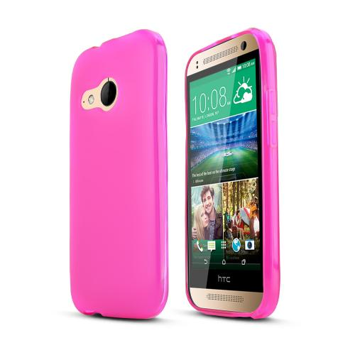 Hot Pink HTC One Remix Flexible Crystal Silicone TPU Case - Conforms To Your Phone Without Stretching Out!