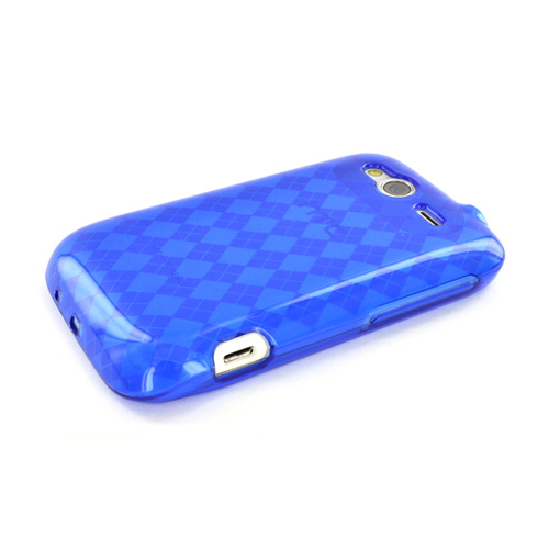 HTC Wildfire S (GSM) Crystal Silicone Case - Argyle Blue