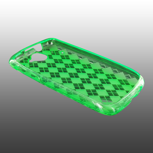 Google Nexus One Crystal Silicone Case - Argyle Print on Transparent Green