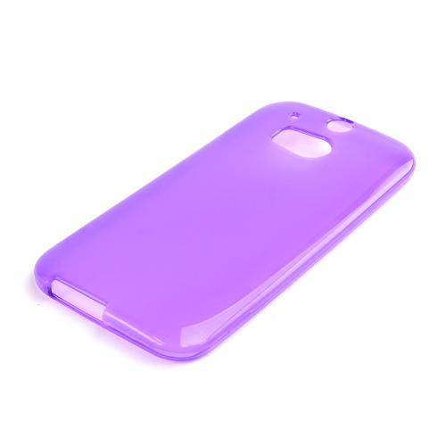 Purple/ Frost Crystal Silicone TPU Flexible Skin Case for HTC One (M8)