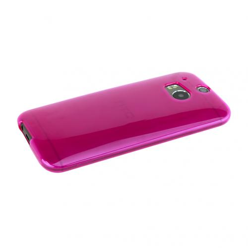 Solid Hot Pink Crystal Silicone Skin TPU Case for HTC One (M8)