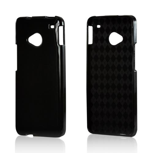 Black (Argyle Interior) Crystal Silicone Case for HTC One