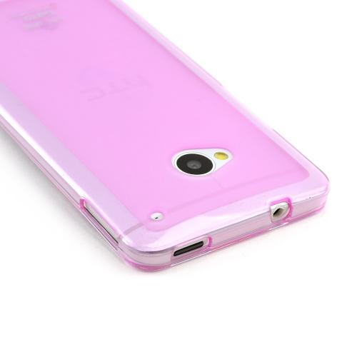 Hot Pink/ Frosted Matte Crystal Silicone Skin Case for HTC One