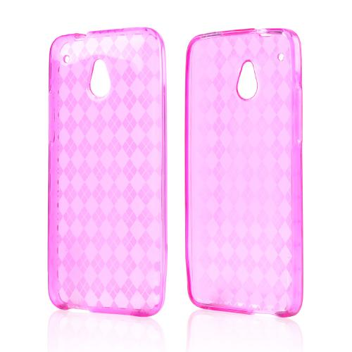 Hot Pink Crystal Silicone Skin Case for HTC One Mini
