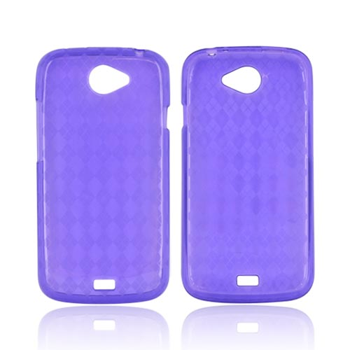 HTC One S Crystal Silicone Case - Argyle Purple