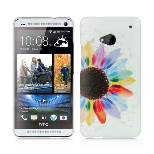 Multi-Colored Sunflower on White UV Hard Case for HTC One