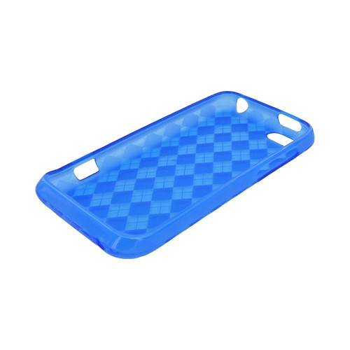 HTC One V Crystal Silicone Case - Argyle Blue