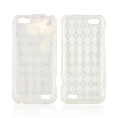 HTC One V Crystal Silicone Case - Argyle Clear