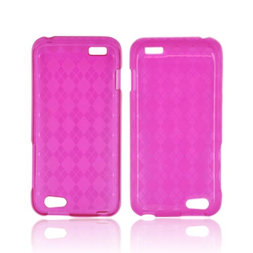 HTC One V Crystal Silicone Case - Argyle Pink