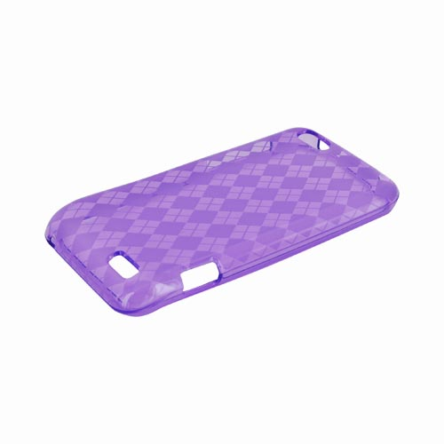 HTC One V Crystal Silicone Case - Argyle Purple