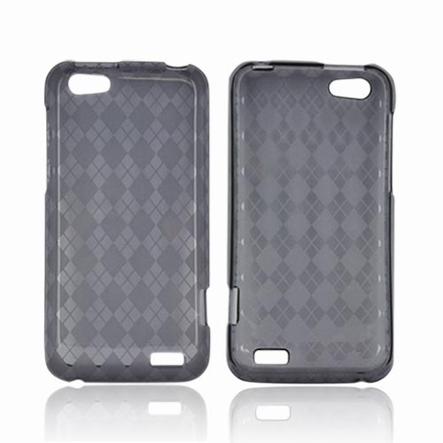 HTC One V Crystal Silicone Case - Argyle Smoke