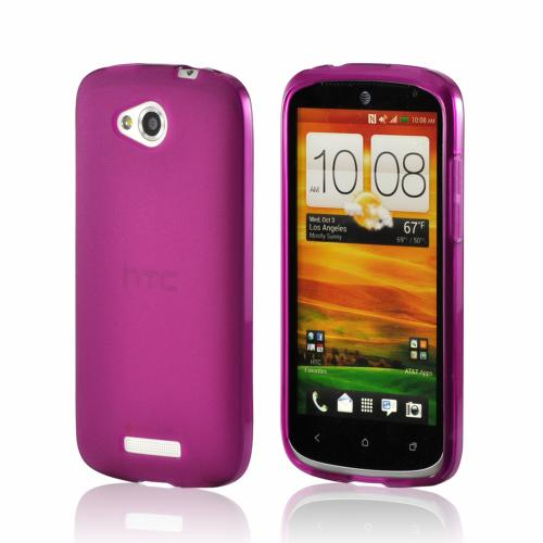 Purple Matte Crystal Silicone Case w/ Polished Border for HTC One VX