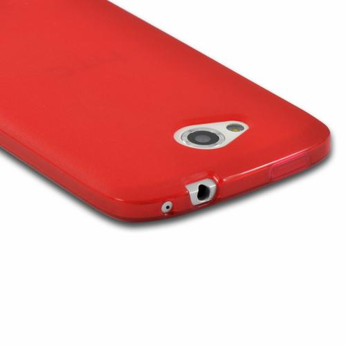 Red Matte Crystal Silicone Case w/ Polished Border for HTC One VX