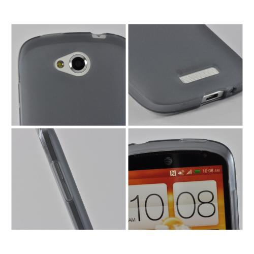 Smoke Matte Crystal Silicone Case w/ Polished Border for HTC One VX