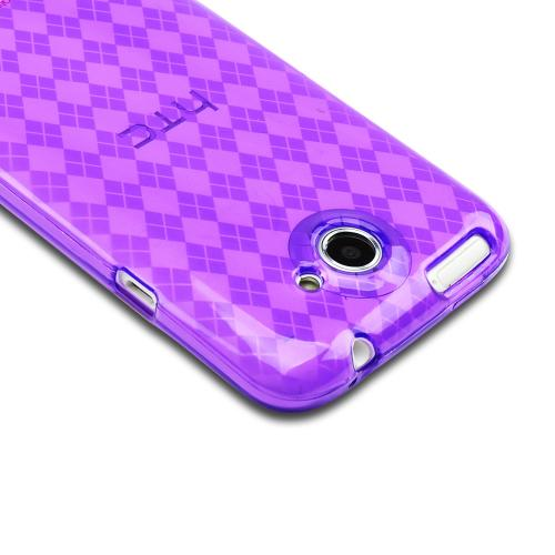 HTC One X Crystal Silicone Case - Argyle Purple