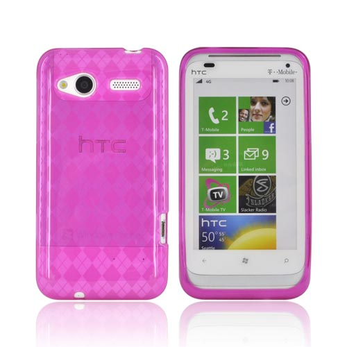 HTC Radar 4G Crystal Silicone Case - Argyle Hot Pink