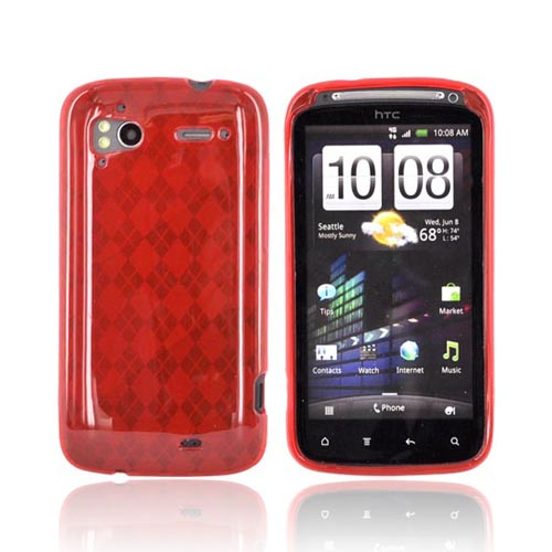 HTC Sensation 4G Crystal Silicone Case - Argyle Red