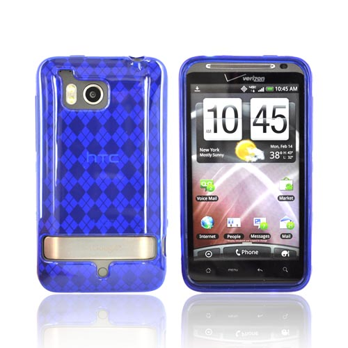 HTC Thunderbolt Crystal Silicone Case - Argyle Design on Blue