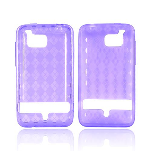 HTC Thunderbolt Crystal Silicone Case - Argyle Design on Purple
