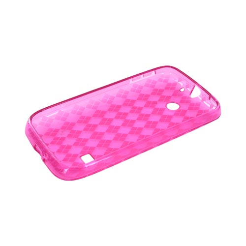 Huawei Ascend 2 M865 Crystal Silicone Case - Argyle Hot Pink