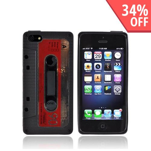 Apple iPhone 5/5S Crystal Silicone Case - Black Cassette