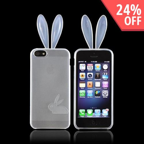 Apple iPhone 5/5S Crystal Silicone Case w/ Bunny Ears - Clear