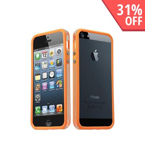 Apple iPhone 5/5S Crystal Silicone Bumper - Orange/ Clear