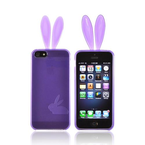 Apple iPhone SE / 5 / 5S  Case,  [Purple]  Slim & Flexible Anti-shock Crystal Silicone Protective TPU Gel Skin Bumper Case w/ Metal Buttons w/ Bunny Ears