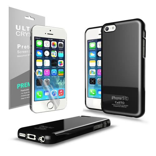 Black Anti-Slip TPU Crystal Silicone Skin Case & Free Screen Protector for Apple iPhone 5C - XXIP5C
