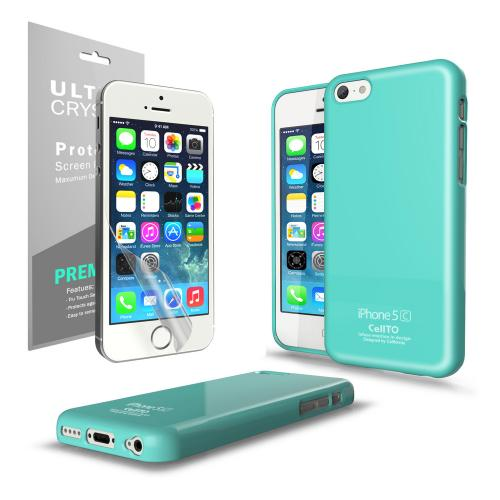 Mint Anti-Slip TPU Crystal Silicone Skin Case & Free Screen Protector for Apple iPhone 5C - XXIP5C