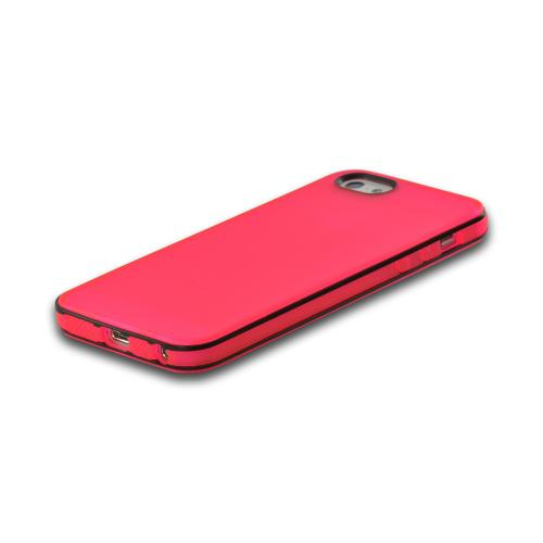 Apple iPhone SE / 5 / 5S  Case,  [Hot Pink w/ Black Border ]  Slim & Flexible Anti-shock Crystal Silicone Protective TPU Gel Skin Bumper Case w/ Metal Buttons