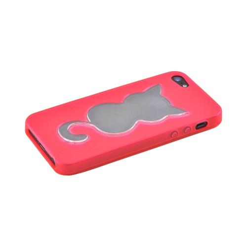 Apple iPhone 5/5S Crystal Silicone Case - Hot Pink w/ Cat Imprint