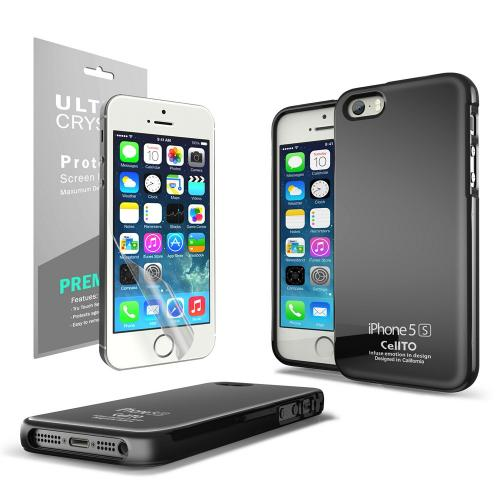 Black Anti-Slip TPU Crystal Silicone Skin Case + Free Screen Protector for Apple iPhone 5/5S - XXIP5