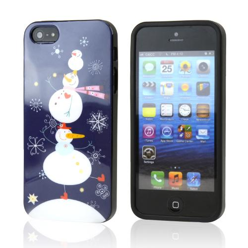 Happy Snowmen w/ Snowflakes Christmas on Dark Blue IMD Crystal Silicone Skin Case for Apple iPhone 5/5S