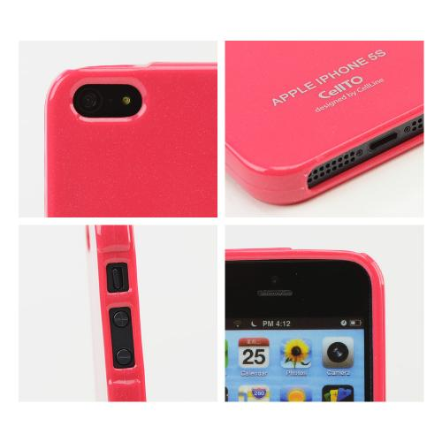 Candy Apple Red Anti-Slip Shimmer TPU Crystal Silicone Skin Case + Free Screen Protector for Apple iPhone 5/5S - XXIP5