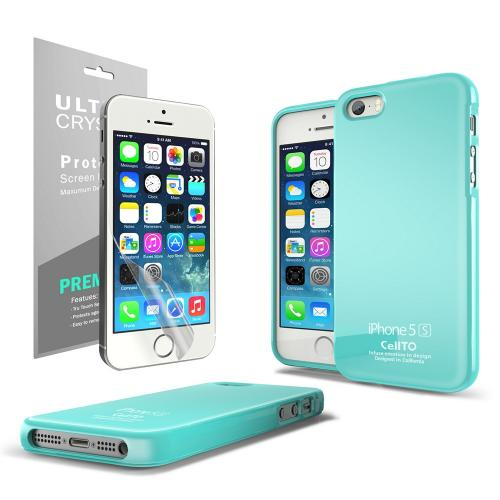 Mint Anti-Slip TPU Crystal Silicone Skin Case + Free Screen Protector for Apple iPhone 5/5S - XXIP5