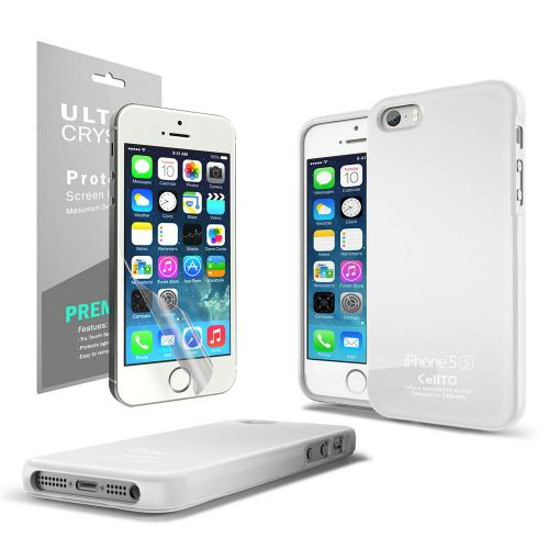 White Anti-Slip TPU Crystal Silicone Skin Case + Free Screen Protector for Apple iPhone 5/5S - XXIP5