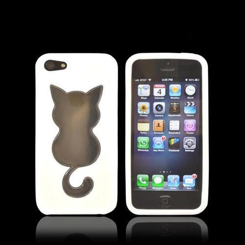 Apple iPhone SE / 5 / 5S  Case,  [White w/ Cat Imprint]  Slim & Flexible Anti-shock Crystal Silicone Protective TPU Gel Skin Case Cover