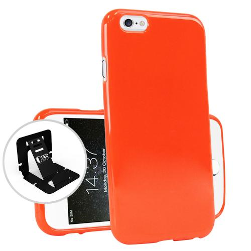 [Apple iPhone 6/6S] (4.7 inch) Case, Flexible Crystal Silicone TPU Case [Orange] - Conforms To Your Phone Without Stretching Out!