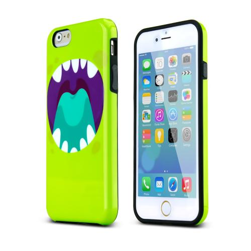 Lime Green/ Purple Happy Monster Flexible Crystal Silicone TPU Hybrid Case Made for Apple iPhone 6/6S (4.7 inch) - Conforms To Your Phone Without Stretching Out!