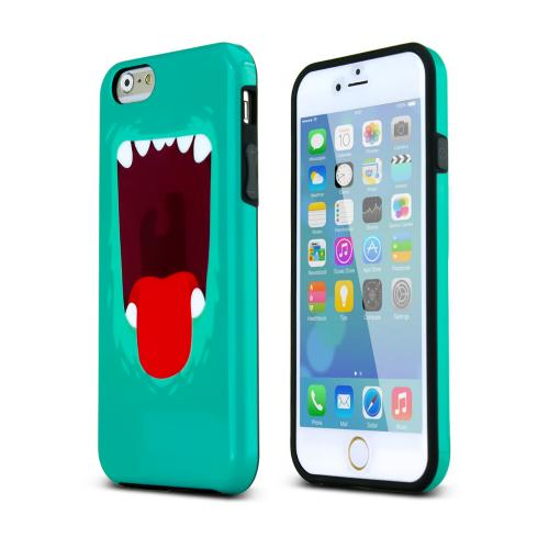 Mint/ Red Happy Monster Flexible Crystal Silicone TPU Hybrid Case Made for Apple iPhone 6/6S (4.7 inch) - Conforms To Your Phone Without Stretching Out!