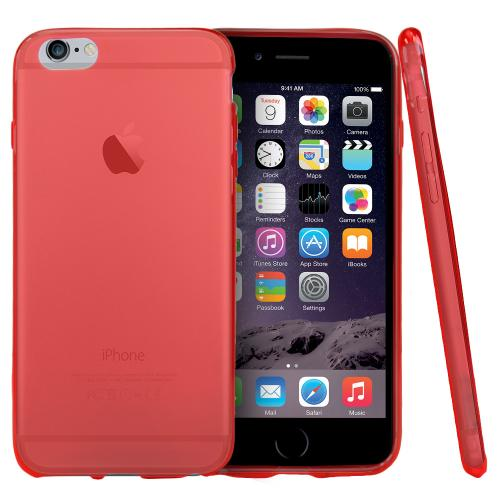 Red/ Frost Apple iPhone 6/6S Plus (5.5 Inches) Flexible Crystal Silicone TPU Case - Conforms To Your Phone Without Stretching Out!