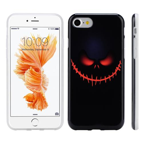 [Apple Phone 7] (4.7 inch) Case, Slim & Flexible Anti-shock Crystal Silicone Protective TPU Gel Skin Case Cover [Black Pirate Face]