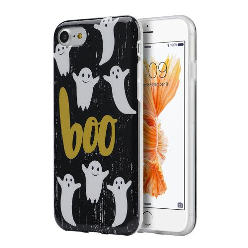 Apple Phone 7 (4.7 inch) Case, Slim & Flexible Anti-shock Crystal Silicone Protective TPU Gel Skin Case Cover [Boo Ghosts]